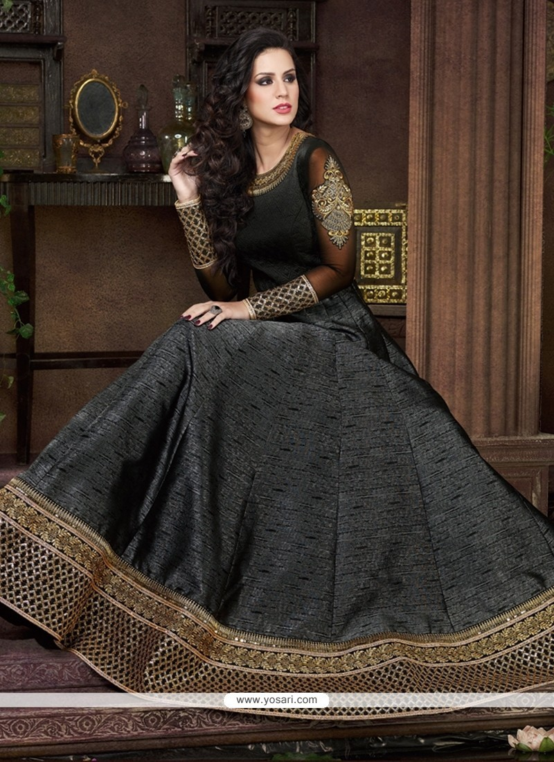 Delightful Silk Embroidered Work Anarkali Salwar Kameez