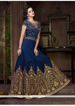 Honourable Silk Navy Blue Anarkali Salwar Kameez