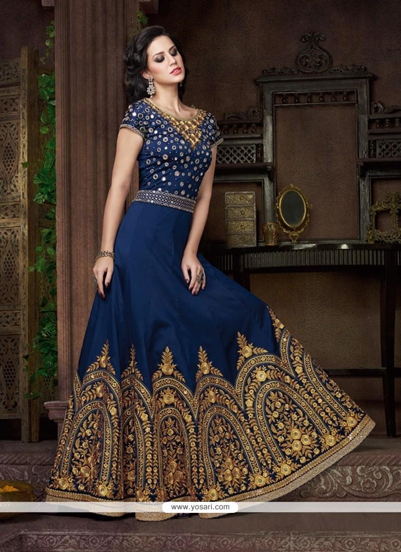 Honourable Silk Navy Blue Anarkali Salwar Kameez