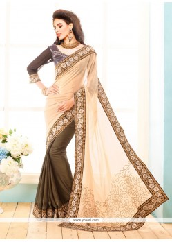 Competent Cream Viscose Designer Saree