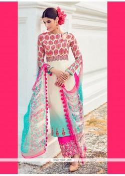 Exquisite Digital Print Work Multi Colour Cotton Satin Designer Suit