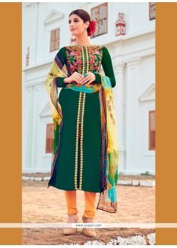 Blissful Green Cotton Satin Designer Suit