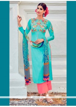 Fetching Cotton Satin Digital Print Work Designer Suit