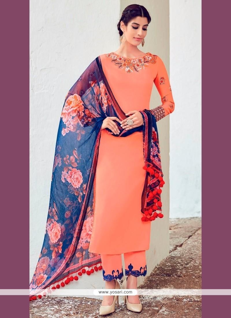 Splendid Digital Print Work Cotton Satin Designer Suit