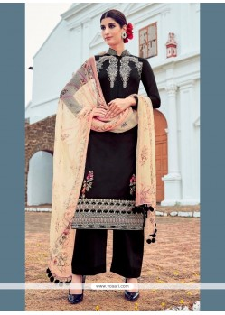 Exuberant Cotton Satin Black Designer Suit