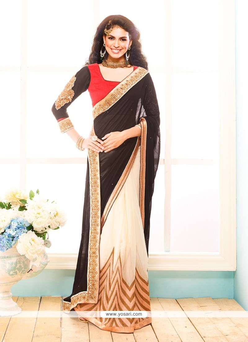 Black And Cream Georgette Party Wear Saree
