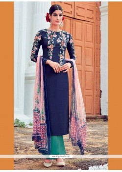 Exceptional Digital Print Work Cotton Satin Designer Suit