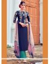 Exceptional Digital Print Work Cotton Satin Designer Suit