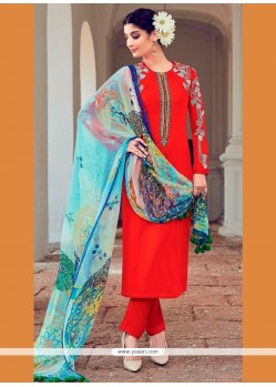 Precious Cotton Satin Red Designer Suit