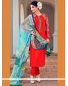 Precious Cotton Satin Red Designer Suit