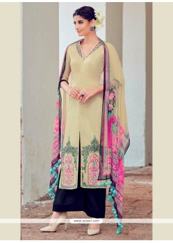 Miraculous Digital Print Work Cream Cotton Satin Designer Suit