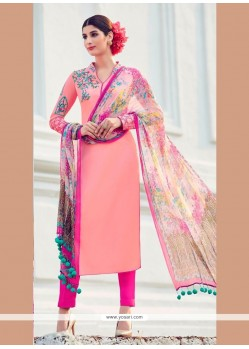 Marvelous Cotton Satin Embroidered Work Designer Suit