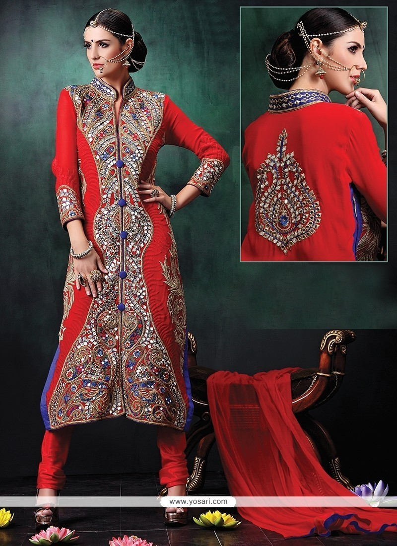 Embroidered Georgette Designer Suit In Red