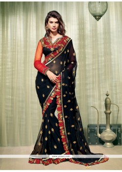 Groovy Black Zari Work Designer Saree