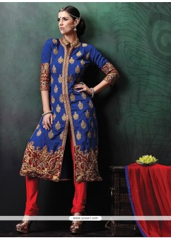 Aristocratic Embroidered Work Blue Jute Silk Designer Suit