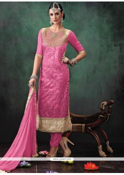 Embroidered Jute Silk Designer Suit In Pink