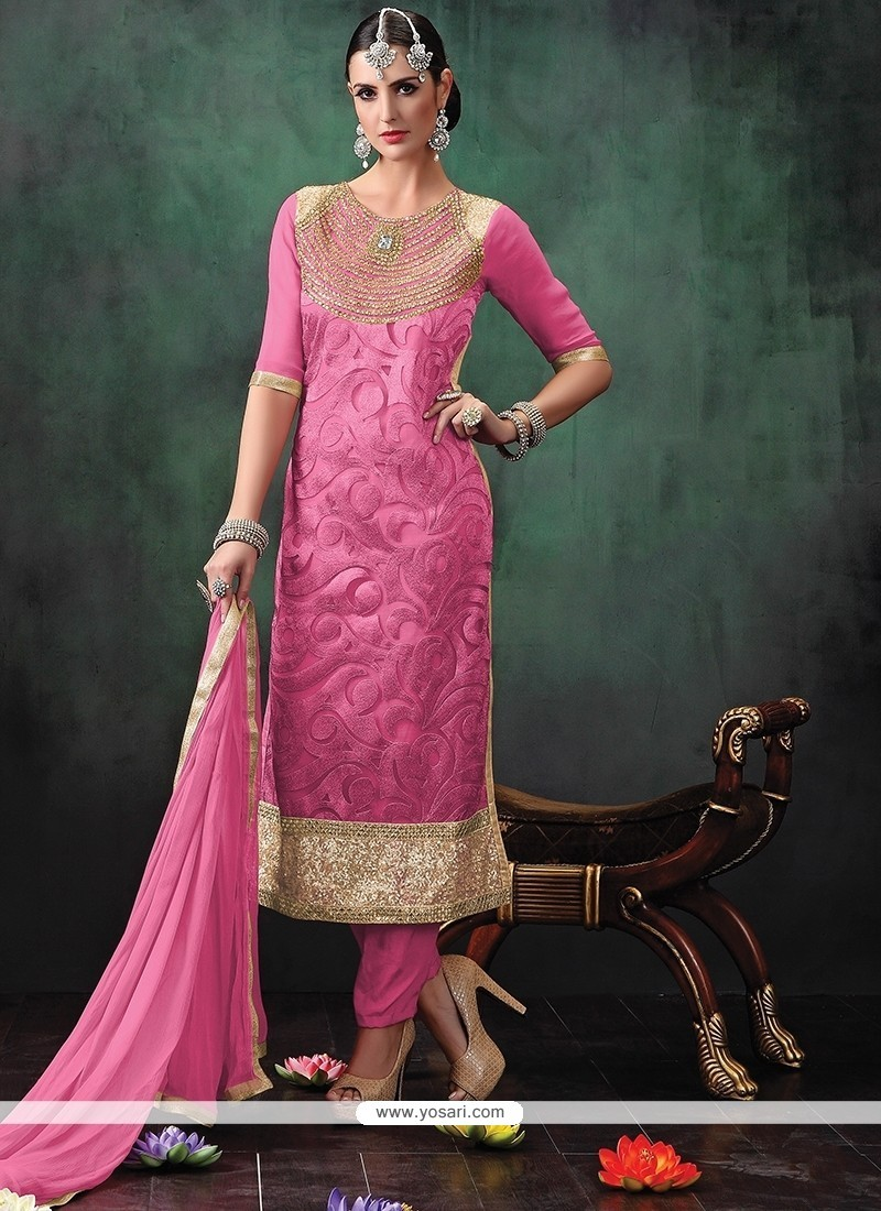 Embroidered Jute Silk Designer Suit In Pink