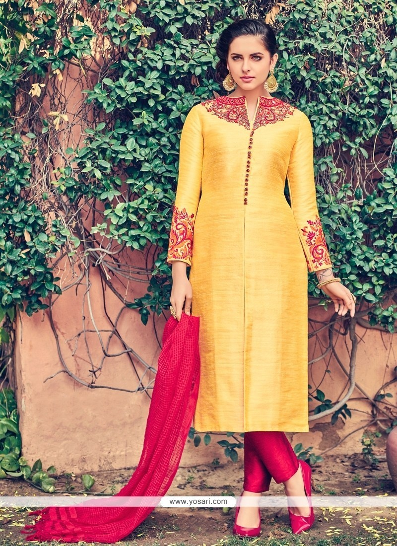 Sightly Cotton Embroidered Work Churidar Designer Suit
