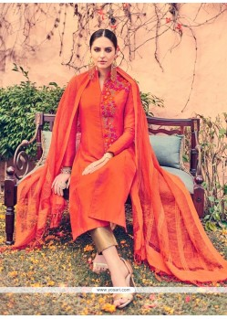 Bewildering Orange Embroidered Work Cotton Churidar Designer Suit