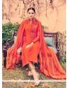 Bewildering Orange Embroidered Work Cotton Churidar Designer Suit