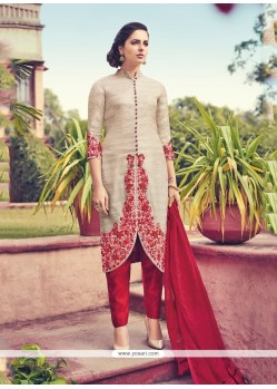 Haute Embroidered Work Cream Silk Churidar Designer Suit