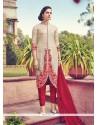 Haute Embroidered Work Cream Silk Churidar Designer Suit