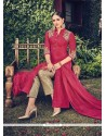 Flamboyant Faux Chiffon Red Churidar Designer Suit