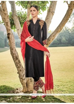 Dignified Embroidered Work Black Churidar Designer Suit