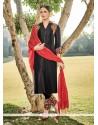 Dignified Embroidered Work Black Churidar Designer Suit