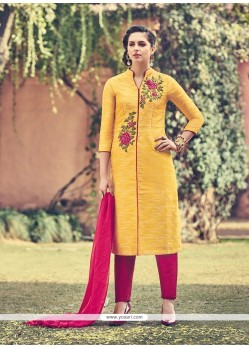 Aesthetic Faux Chiffon Churidar Designer Suit