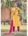 Aesthetic Faux Chiffon Churidar Designer Suit