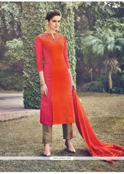Dazzling Silk Orange Churidar Designer Suit