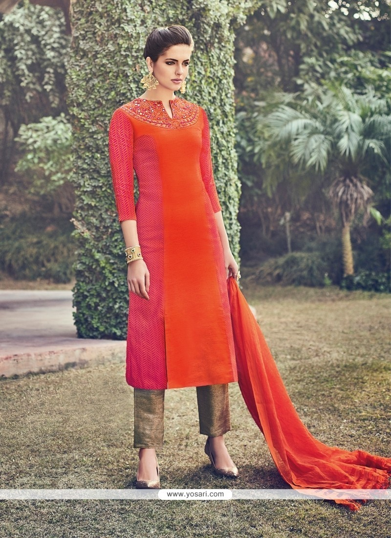 Dazzling Silk Orange Churidar Designer Suit