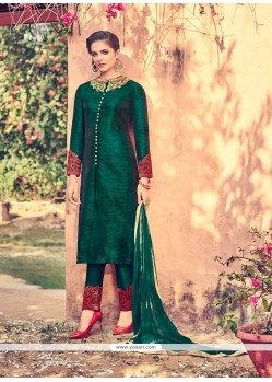 Adorable Green Embroidered Work Churidar Designer Suit