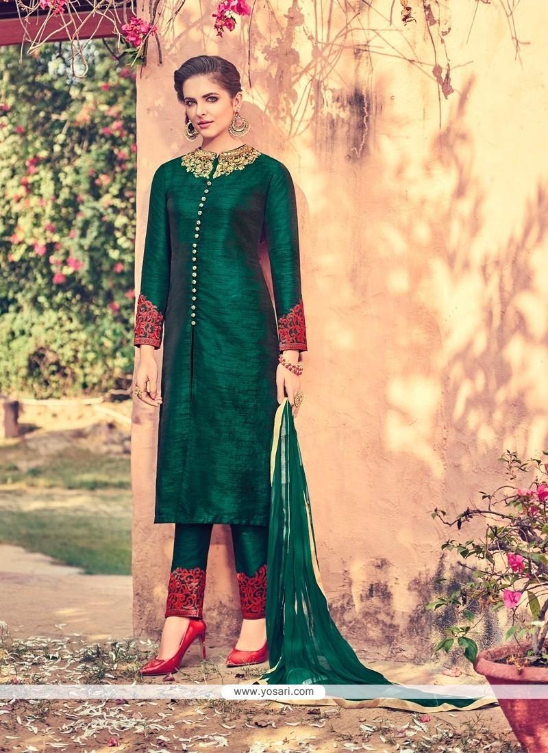 Adorable Green Embroidered Work Churidar Designer Suit