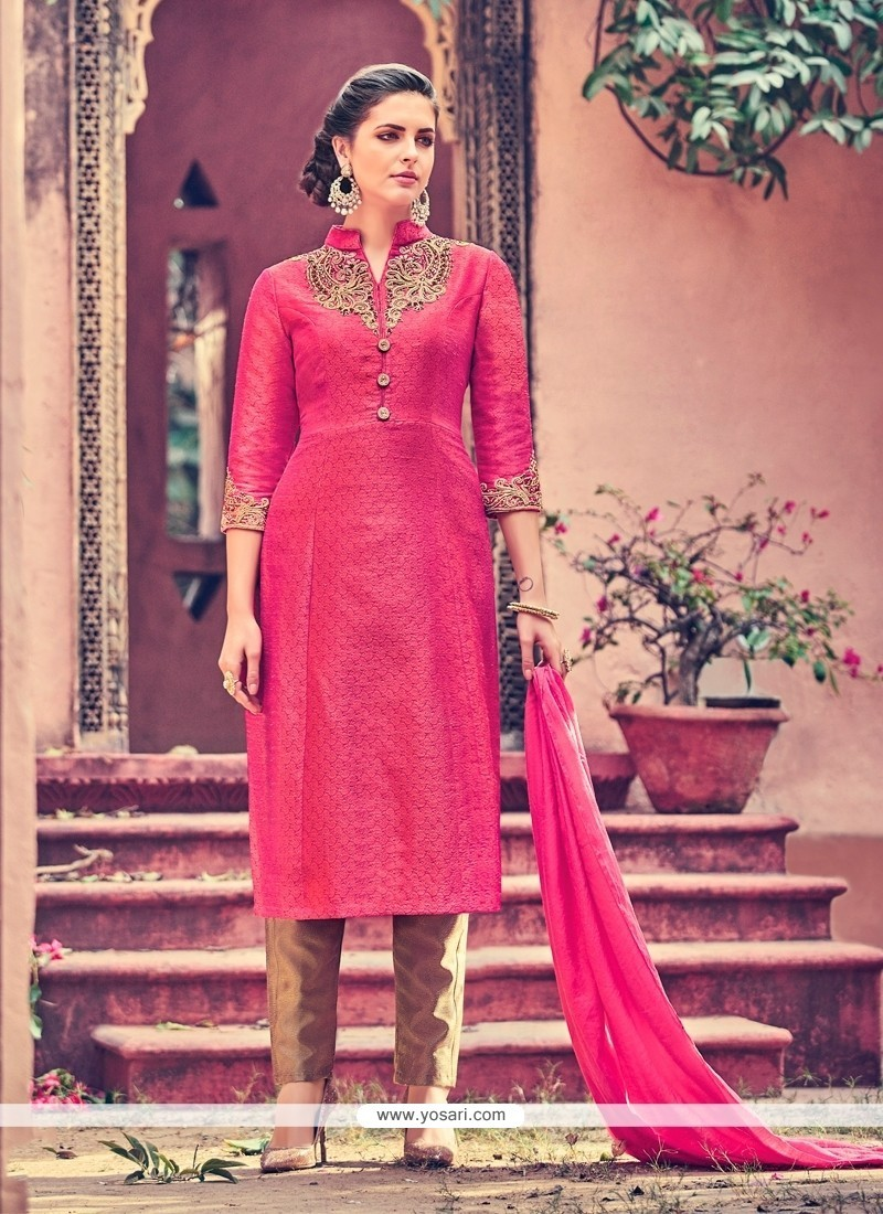 Incredible Embroidered Work Churidar Designer Suit