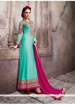 Entrancing Georgette Patch Border Work Designer Suit