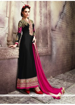 Blissful Black Patch Border Work Georgette Designer Suit
