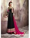 Blissful Black Patch Border Work Georgette Designer Suit