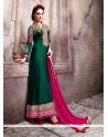 Fine Georgette Green Designer Suit