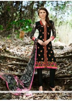 Black Georgette Churidar Designer Suit