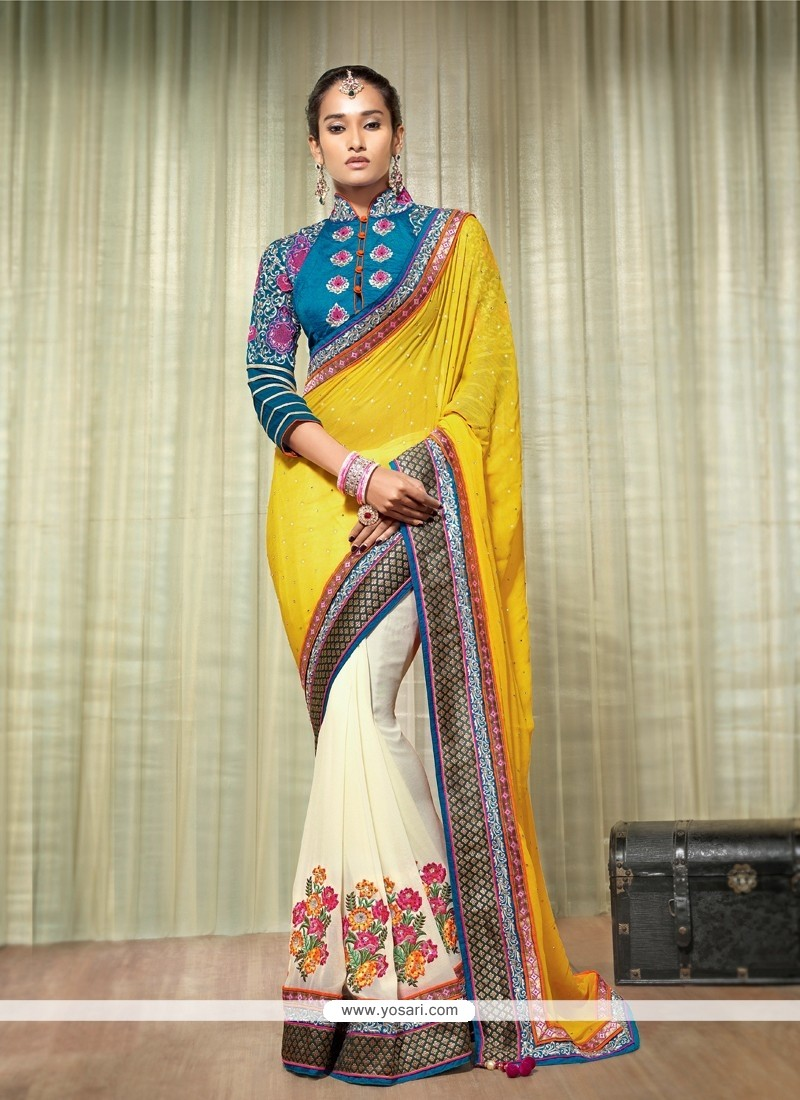 Yellow And Cream Georgette Designer Saree