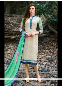 Beige And Sea Green Georgette Churidar Designer Suit