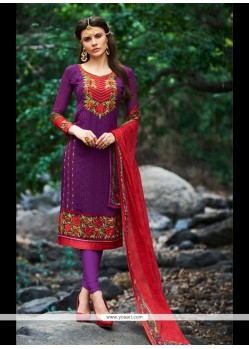 Riveting Embroidered Work Churidar Designer Suit