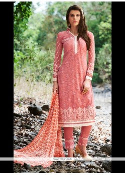 Debonair Embroidered Work Georgette Pink Churidar Designer Suit