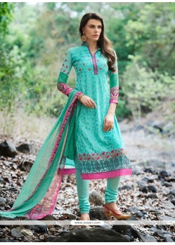 Superlative Turquoise Patch Border Work Churidar Designer Suit