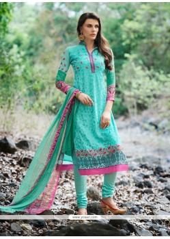 Superlative Turquoise Patch Border Work Churidar Designer Suit