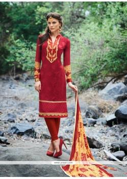 Impeccable Patch Border Work Maroon Georgette Churidar Designer Suit