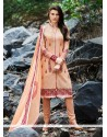 Peach Georgette Churidar Designer Suit