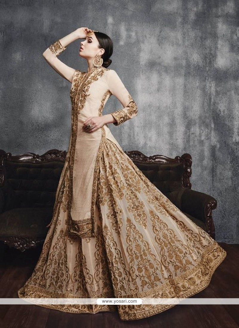 Resham Georgette Designer Lehenga Choli In Beige